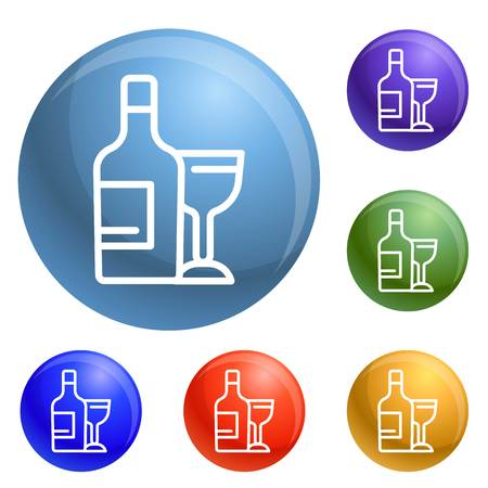 Wine bottle and glass icons set vector 6 color isolated on white background