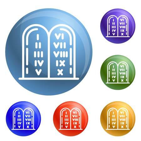 Jewish stones icons set vector 6 color isolated on white background Ilustração