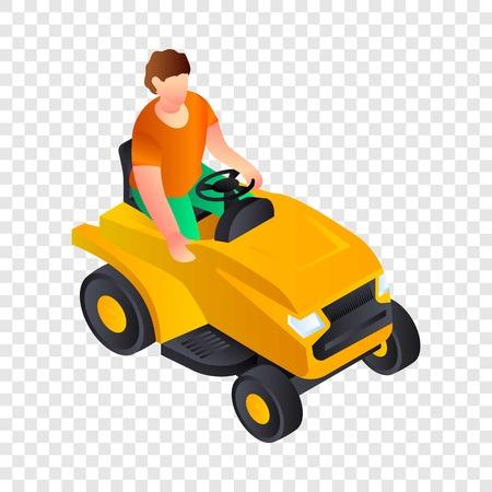 Cut grass machine icon. Isometric of cut grass machine vector icon for web design