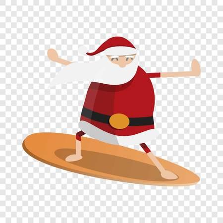 Icono de surf de santa claus. Caricatura de santa claus surf icono vectoriales para diseño web