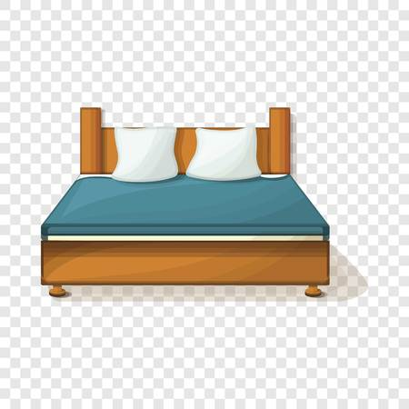 King size bed icon. Cartoon of king size bed vector icon for web design