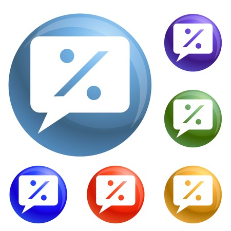 Percent bubble chat icons set vector 6 color isolated on white background