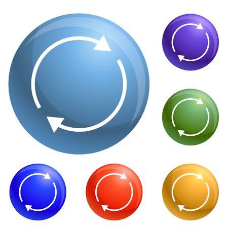 Icônes de flèche de cercle rond set vector 6 couleur isolé sur fond blanc