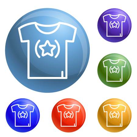 Star tshirt icons set vector 6 color isolated on white background