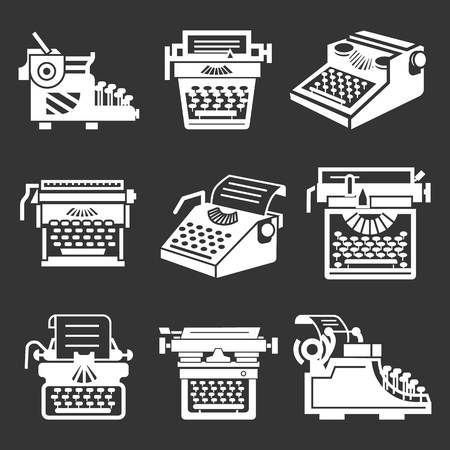 Typewriter icon set. Simple set of typewriter vector icons for web design on gray background