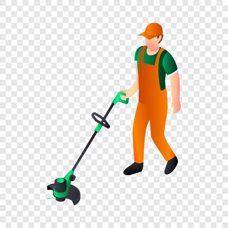 Hand grass cutter icon. Isometric of hand grass cutter vector icon for web design
