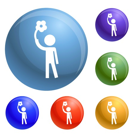 Handicap man icons set 6 color isolated on white background Stock Photo