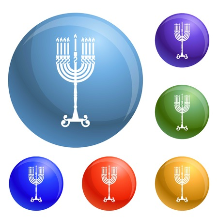 Hanukkah candle stand icons set 6 color isolated on white background