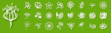 New flower icon set. Simple set of flower icons for web design on green background for any design 스톡 콘텐츠