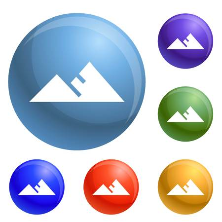 Mountain icons set vector 6 color isolated on white background