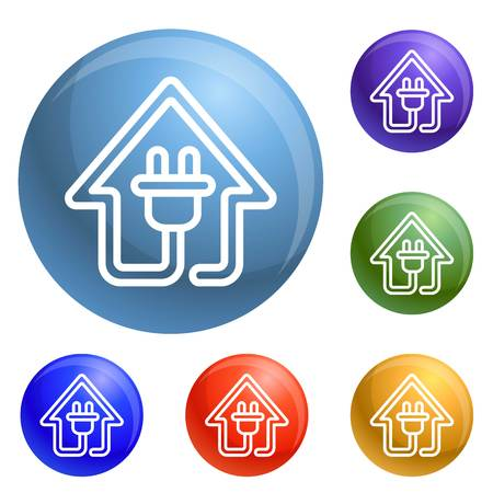 Eco house plug icons set vector 6 color isolated on white background
