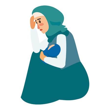 Refugee woman baby icon. Flat illustration of refugee woman baby vector icon for web design Illustration