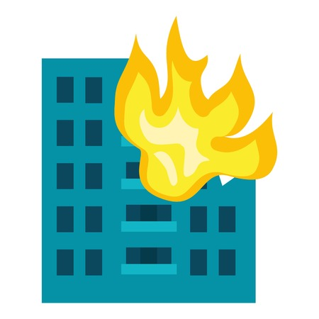 Building in fire icon. Flat illustration of building in fire vector icon for web design Vettoriali