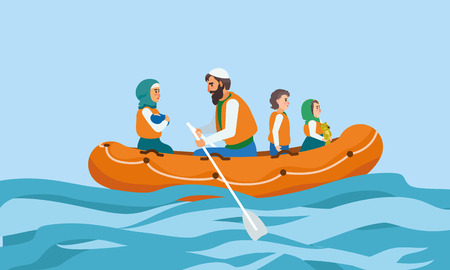 Boat immigrant family concept banner. Flat illustration of boat immigrant family vector concept banner for web design Stockfoto - 127238775