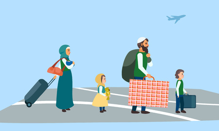 Immigrant family at airport concept banner. Flat illustration of immigrant family at airport vector concept banner for web design