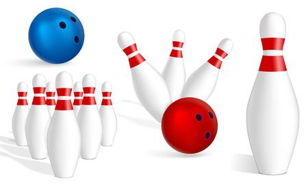 Bowling icon set. Realistic set of bowling vector icons for web design isolated on white background