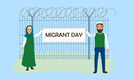 Migrant day concept banner. Flat illustration of migrant day vector concept banner for web design Vecteurs
