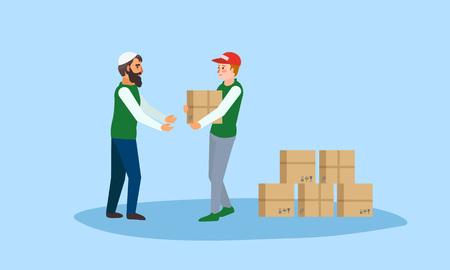 Konzeptbanner für humanitäre Hilfeboxen. Flache Illustration der Vektorkonzeptfahne der humanitären Hilfeboxen für Webdesign