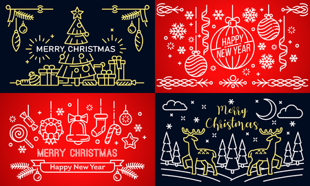 Christmas banner set. Outline set of Christmas vector banner for web design