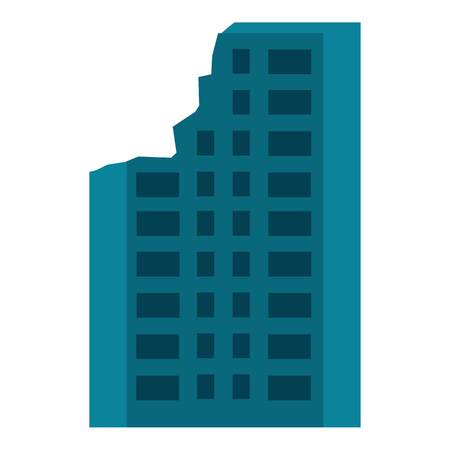 Destroyed city building icon. Flat illustration of destroyed city building vector icon for web design