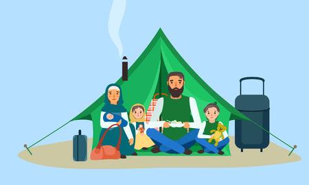 Homeless family in tent concept banner. Flat illustration of homeless family in tent vector concept banner for web design
