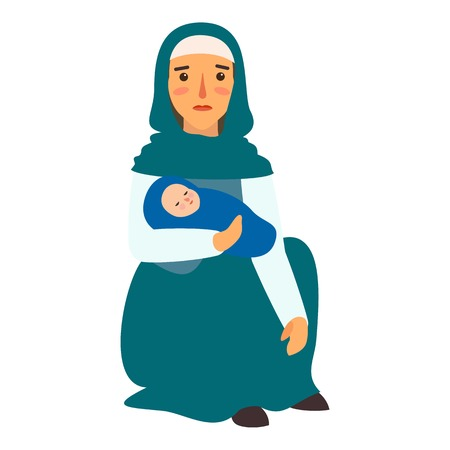 Refugee mother baby icon. Flat illustration of refugee mother baby vector icon for web design Illustration