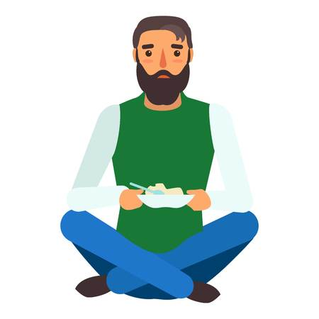 Refugee man eat icon. Flat illustration of refugee man eat vector icon for web design