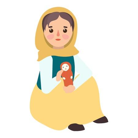 Muslim migrant girl icon. Flat illustration of muslim migrant girl vector icon for web design