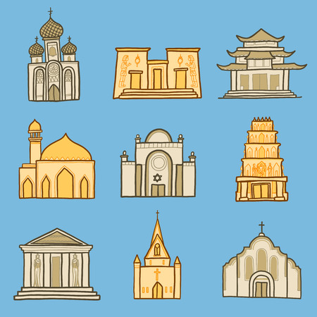 Temple icon set. Hand drawn set of temple vector icons for web design