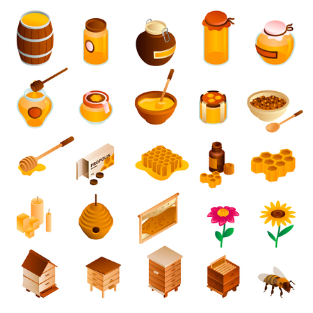Honey icon set. Isometric set of honey vector icons for web design isolated on white background