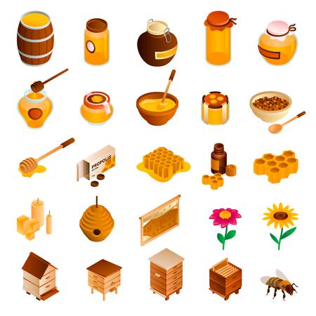Zestaw ikon miodu. Izometryczny zestaw ikon wektorowych miodu do projektowania stron internetowych na białym tle Ilustracje wektorowe