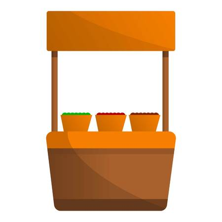 Vegetables street kiosk icon. Cartoon of vegetables street kiosk vector icon for web design isolated on white background Stock Illustratie