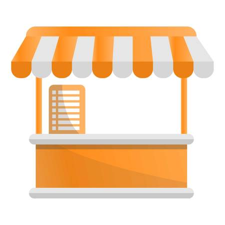 Food tent kiosk icon. Cartoon of food tent kiosk vector icon for web design isolated on white background