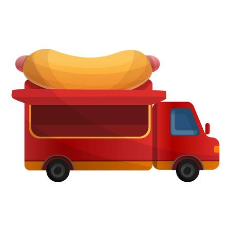 Hot dog truck icon. Cartoon of hot dog truck vector icon for web design isolated on white background Vettoriali