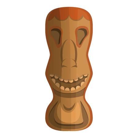 Wood tahiti idol icon. Cartoon of wood tahiti idol vector icon for web design isolated on white background