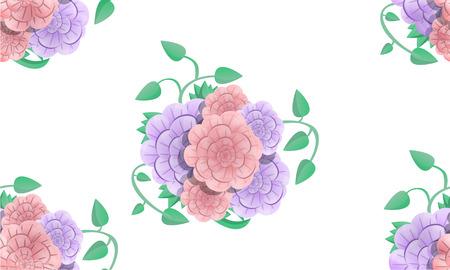 Camellia bouquet pattern. Cartoon illustration of camellia bouquet vector pattern for web design