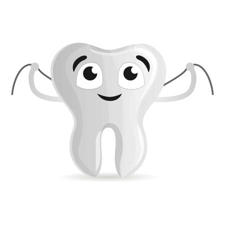 Happy tooth with floss icon. Cartoon of happy tooth with floss vector icon for web design isolated on white background Vectores