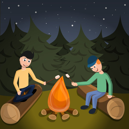 Boys cook marshmallow on fire concept background. Cartoon illustration of boys cook marshmallow on fire vector concept background for web design
