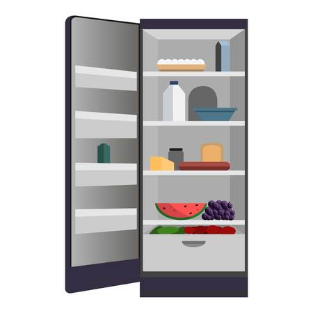 Open home fridge icon. Cartoon of open home fridge vector icon for web design isolated on white background