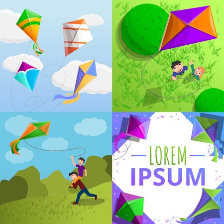Kite banner set. Cartoon illustration of kite vector banner set for web design
