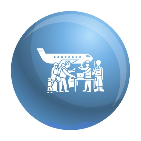 Migrant people on plane icon. Simple illustration of migrant people on plane vector icon for web design isolated on white background Illustration