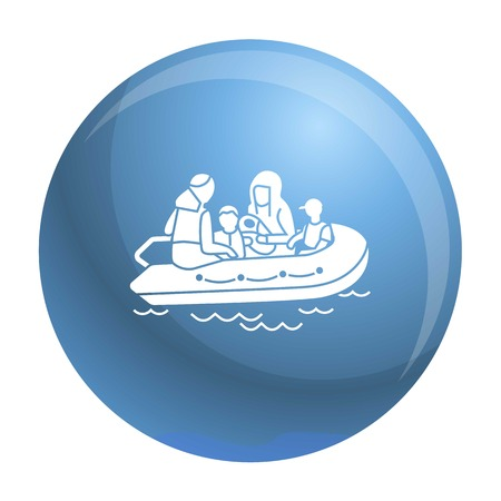 Migrant family boat icon. Simple illustration of migrant family boat vector icon for web design isolated on white background