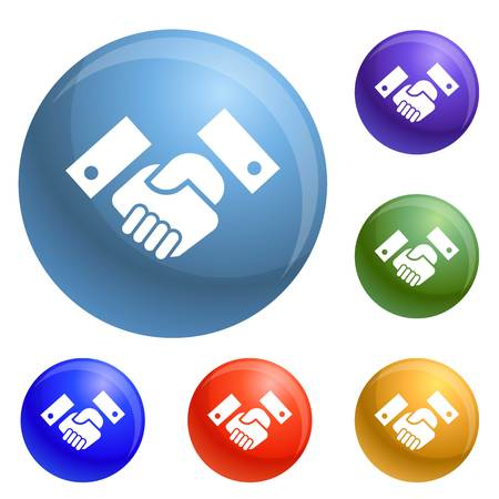 Handshake icons set vector 6 color isolated on white background Vector Illustration