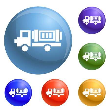 Eco truck icons set vector 6 color isolated on white background