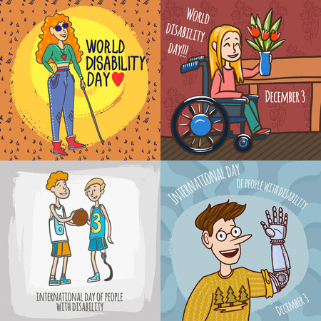 Day persons disabilities banner set. Hand drawn set illustration of day persons disabilities banner for web design 写真素材