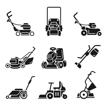 Lawnmower icon set. Simple set of lawnmower icons for web design on white background Stok Fotoğraf
