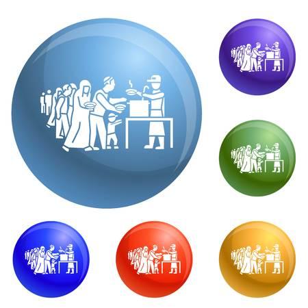 Flüchtlinge nehmen Essen Icons Set Vektor 6 Farbe isoliert auf weißem Hintergrund Vektorgrafik