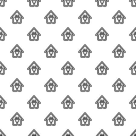 Eco house plug pattern seamless vector repeat for any web design Ilustração