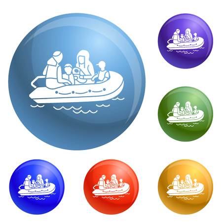 Migrant family boat icons set vector 6 color isolated on white background