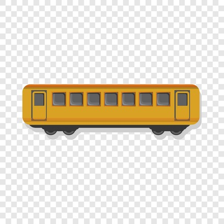 Yellow passenger wagon icon. Cartoon of yellow passenger wagon vector icon for web design